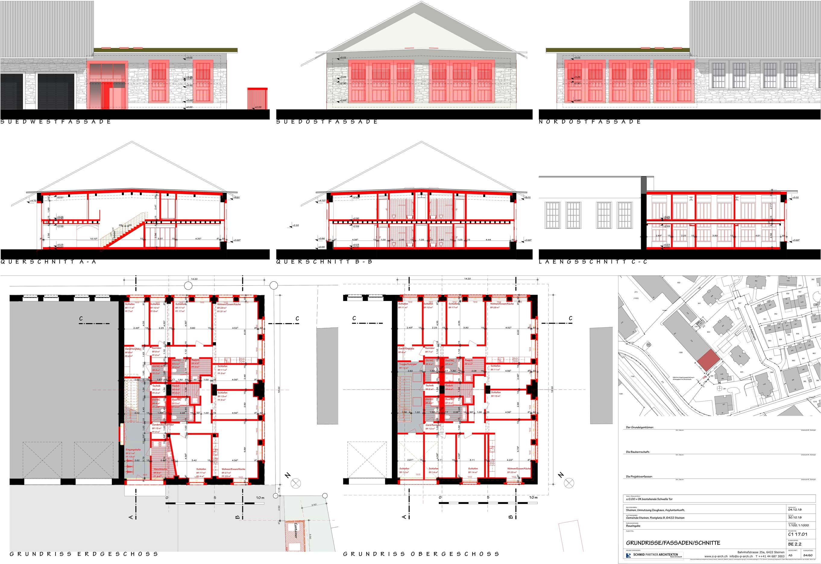 Schmid Partner Architekten Bauerneuerung C11701 BE 2.2 GRUNDRISSE FASSADEN SCHNITTE