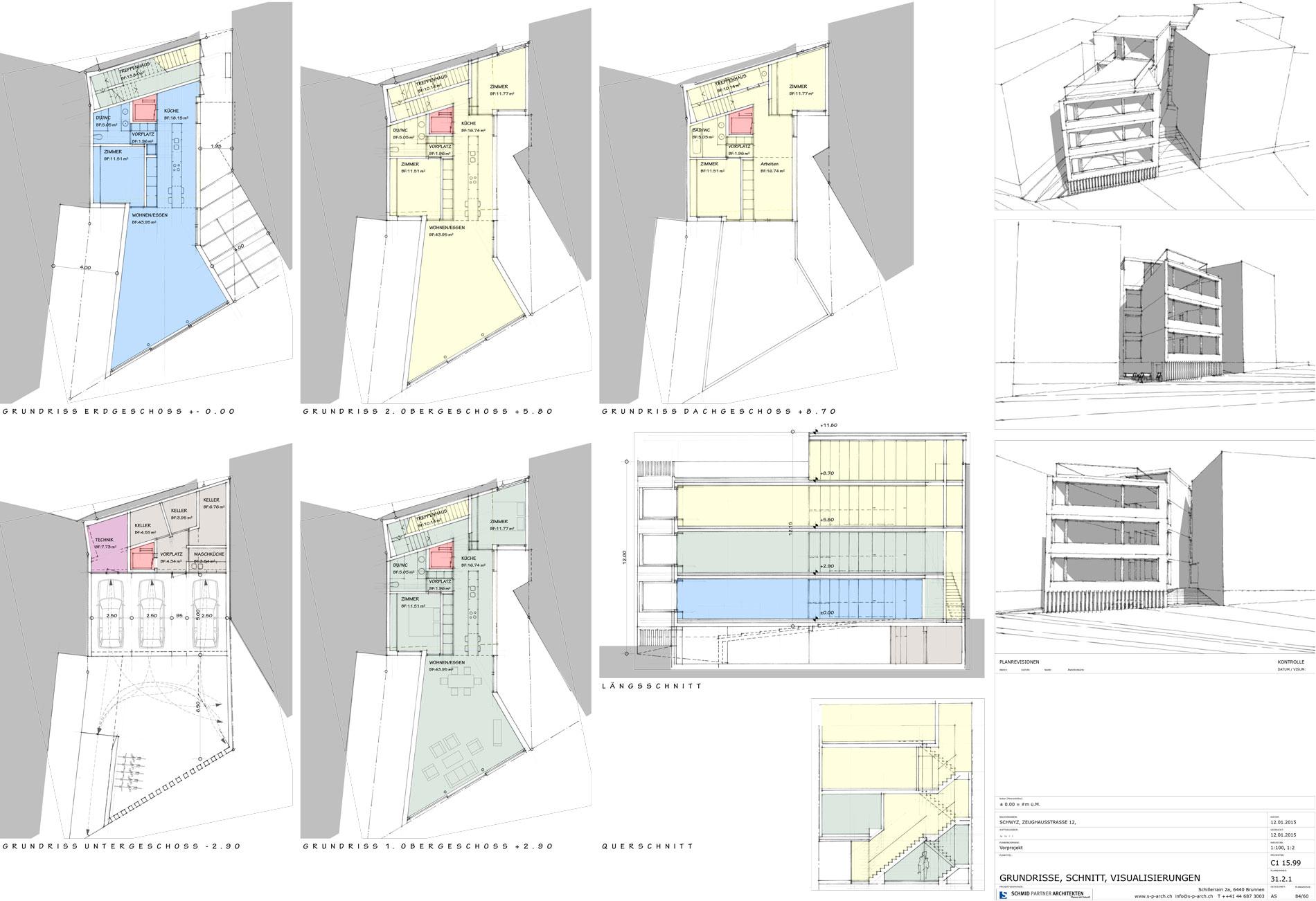 Schmid Partner Architekten Neubau C11599 31.2.1 GRUNDRISSE, SCHNITT, VISUALISIERUNGEN