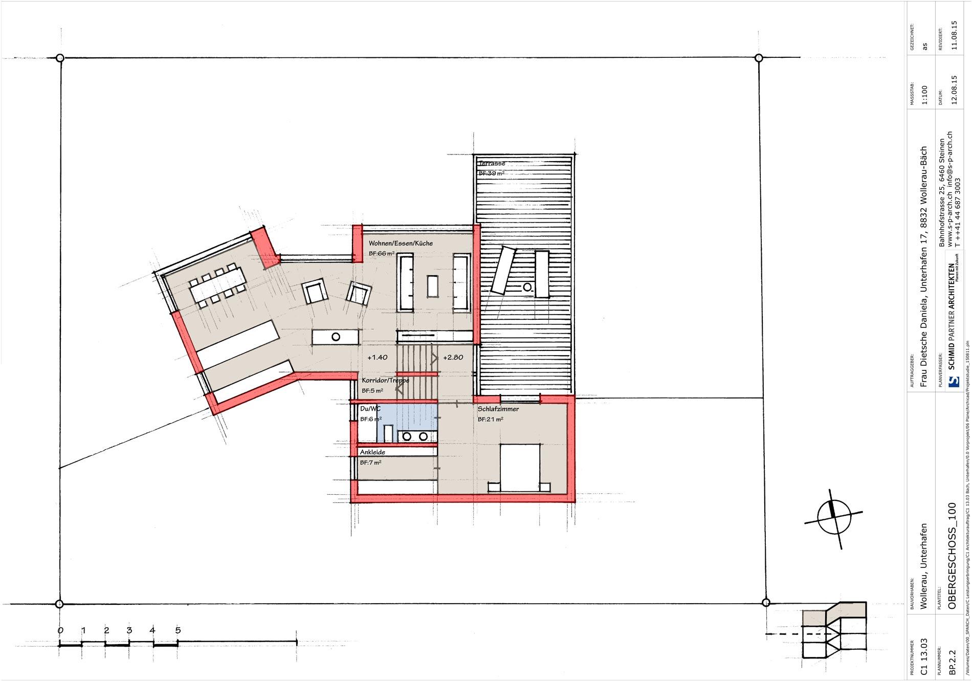 Schmid Partner Architekten Umbau C11505 BP.2.2 OBERGESCHOSS 100
